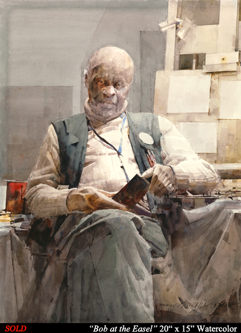 "Bob at the Easel 20"" x 15"" Watercolor"