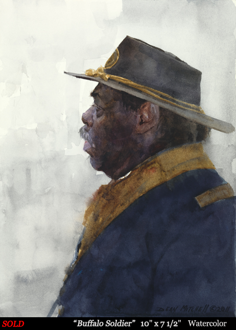 "Buffalo Soldier 10"" x 7 1/2""  Watercolor"