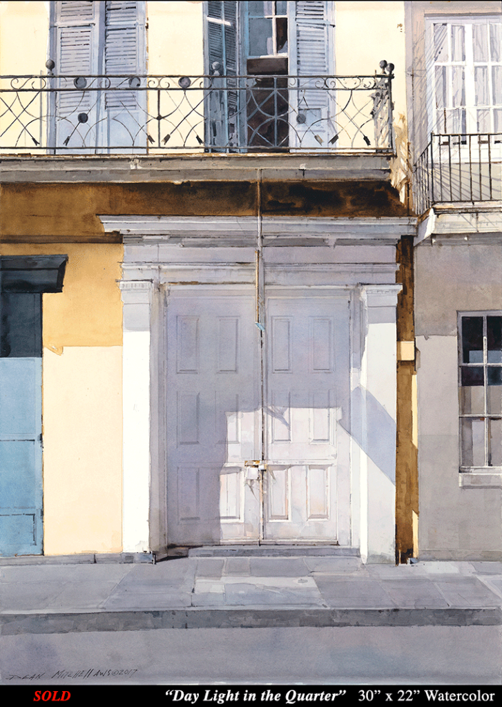 "Day Light in the Quarter 30"" x 22"" Watercolor"