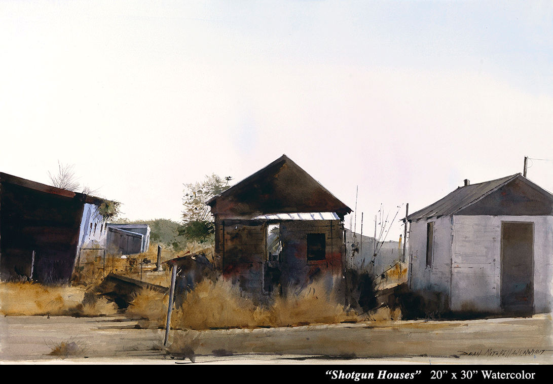 "Shotgun Houses 20"" x 30"" Watercolor"