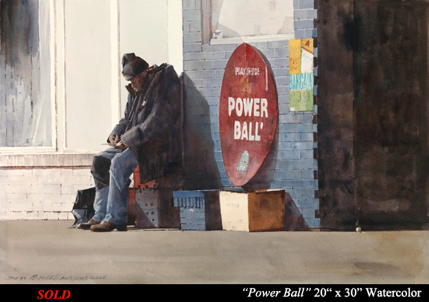 "Power Ball 20"" x 30"" watercolor"