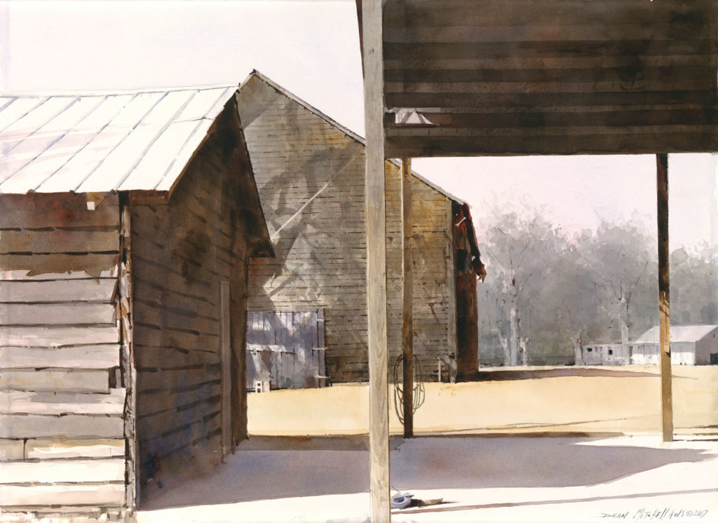 "<strong style=""color: red;"">SOLD</strong> Tobacco Barn Shadows  22""x 30"" Watercolor"