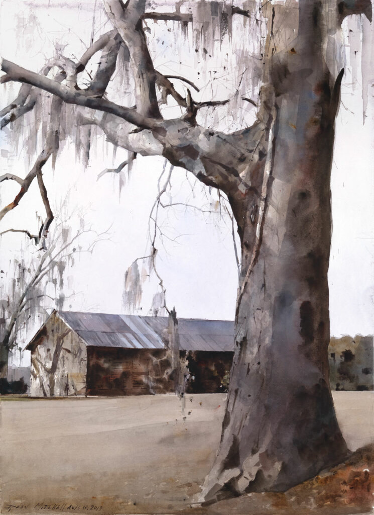 "Ball Farm Tobacco Barn  30"" x 22"" watercolor"