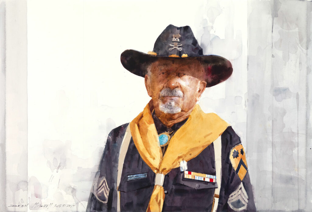 "Russell Jones Buffalo Soldier 20"" x 30"" watercolor"